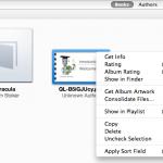 Right-click context menu for ebooks (iTunes screenshot)